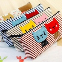 Free shipping 2013 fashion Korea stationery B560 canvas pencil case brief sweet kitten pencil case stationery bags cosmetic bag
