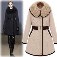 Free Shipping 2014 Winter Women's Plus Size Design Slim Wadded Jacket Cotton-Padded Jacket Long Wadded Jacket,B754