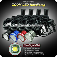 1PC 1200 Lumen CREE XM-L T6 LED HeadLight Zoom Adjustable 18650 Rechargeable Headlamp Multi Color