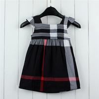 1 piece free shipping Children's Summer Dress Girl One-piece Scotticize Fashioned Plaid Dress Sleeveless Casual  A-Line Sundress