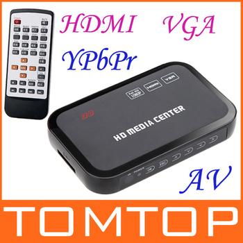 New!! 1080P Media Player Center RM/RMVB/AVI/MPEG Multi Media Video Player with HDMI YPbPr VGA AV USB SD/MMC Port Remote Control