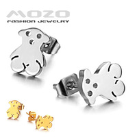 Wholesale 2014 hot sale Fashion Jewelry women's Earring 316L Stainless Steel Gold Bear Stud Earrings for women girl Gift GE231