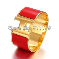 Free Shipping Wholesale Finest Cuff Bracelets Fresh Red Extra Wide Clic H With Gold Plated Hardware Enamel Bracelet