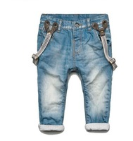 Children's jeans - boys washed denim overalls - baby trousers