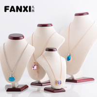 Free Shipping Quality Beige Necklace Standing Bust Display Jewelry  Holder Mannequin