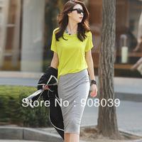 2013 summer short-sleeve women's slim one-piece two piece basic full  slim hip  one-piece dress