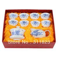 Blue Peony Jade Porcelain Tea Set Kung Fu Teaset Ceramic Teaware free shipping