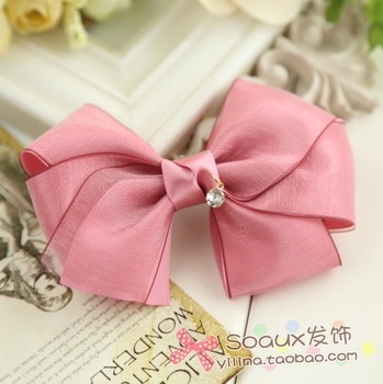 2013 new arrive Powder bow hair accessory hairpin 2013 silk yarn hair accessory 1061  cheap