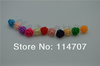 Universal Earphone Rose flower 3.5 mm Ear Cap Dock Dust Plug for iPhone 5 4 4S iPod Samsung HTC LG IPAD,  free shipping