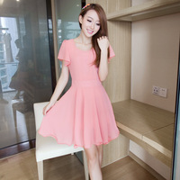 Trend summer women's slim women's short-sleeve chiffon one-piece dress chiffon dress