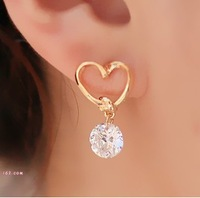 Min order $10(MIX) Vintage Earrings Love With Zircon Fashion Jewelry Free Shipping