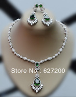 Emerald crystal ,necklace earrings set,Wedding dress accessories,Top zircon jewelry set