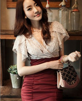 2013 spring summer new sexy lace cotton short-sleeved dress stitching package hip Slim dress free shipping