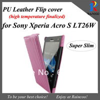 Brand New for Sony Xperia Acro S Lt26w Super slim flip cover case,mobile phone carbon fiber paterrn flip case