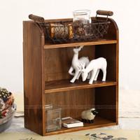 Zakka vintage retro finishing wood storage cabinet display cabinet