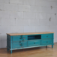 French retro finishing antique solid wood furniture blue retro pumping finishing tv cabinet
