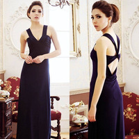 long evening dress 2013 new arrival formal dresses purple red  blue A low-cut halter  modest dresses one size party dresses gown