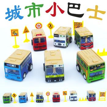 Small bus toy car model car WARRIOR car band traffic signs