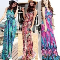 2013 New arrival bohemia beautiful designs sexy V-neck halter-neck long dress evening dress female beach dress 9 colors