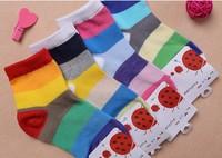 [color stripe] Free shipping Spring Cotton socks,children socks,Baby socks 4 colors,20pairs/lot  2-12years old socks