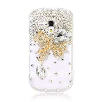 3D Bling Rhinestone Crystal Butterfly Case Cover For Samsung Galaxy S3 i8190 S3 Mini