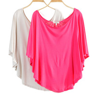 2013 ladies simple round neck fashion candy color stitching bat sleeve short sleeve