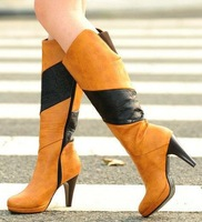 platform pumps fashion colors block winter high thin heels big size 2014 boots for women ladies shoes woman eur 32-48 CSXX34500