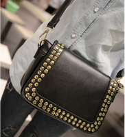 2013 women's handbag motorcycle rivet bag classic messenger bag fashion vintage women's handbag
