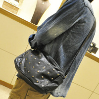 Card holder trend 2013 men's shoulder bag rivets small bag lather-bag fashionable casual messenger bag