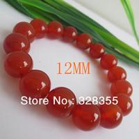 Charm Semi Precious Stone 12MM Natural Round Agate Bead Stretch Bracelet Free Shipping