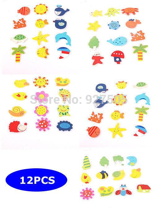 B39Free Shipping 12 PCS Cartoon Funny Baby Toy Wooden Fridge Magnet Refrigerator Magnets Gift(China (Mainland))