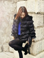 Black long-sleeve short design medium-long fox fur wool patchwork horizontal stripe fur coat