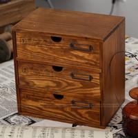 Zakka vintage retro finishing file cabinet storage cabinet storage cabinet drawer cabinet bronze label