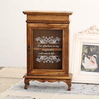 Zakka solid wood vintage retro finishing cosmetic jewelry storage cabinet glass cabinet