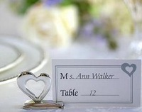 30pcs/lot Silver Heart Place Card Holder