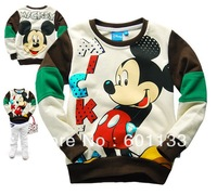 Free Shipping wholesale 6pcs Baby Boy T shirt Sweatshirt Top clothes boys top children clothes Cartoon Mickey