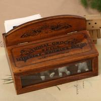 Zakka solid wood vintage retro finishing hussies handmade tool box jewelry box glasses box