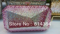 Free Shipping Color Block Candy Geometric Crystal Evning Purse Rhinestone Handbag Handcraft S08168