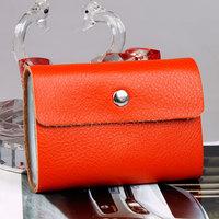 Candy color genuine leather card holder women men multi card holder bank cardcase clip 2pcs/lot wholesale price 26cards