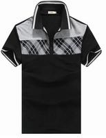 Free shipping wholesale mens cotton multi-color polo shirt short sleeve plain t-shirts, mens polo shirts black/white/grey tee
