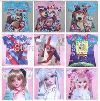 In stock,promotion kids cartoon masha bear spider man t shirts for girls boys summer  t-shirt  Children kids tshirt clothesK2031