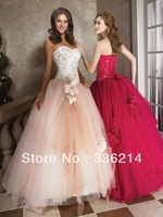 2013 New Arrival Good Quality A-line Formal Handmade Flower Ball Gown Prom Dresses Free Shipping
