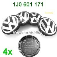 VW EMBLEM WHEEL CENTER 4 HUB CAPS PASSAT JETTA GOLF 1J0601171 55MM HIGH QUALITY