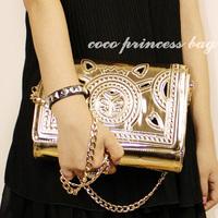 Aimali style Fashion women's handbag 2013 gold vintage cutout carved bags chain day clutch messenger handbags female  wholesale