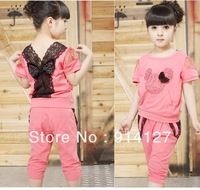 5 set/lot  summer girls kids  minnie mickey bowknot sports short sleeve lace shirt top + harem pants 2pcs set suit 120-160cm