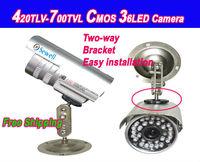 36LED 420tvl-700tvl CMOS Color Waterproof IR Outdoor surveillance security CCTV camera, 30M IR distance Free shipping