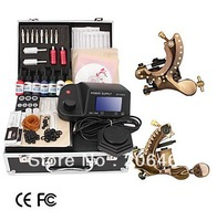 Free Shipping Damascus Hand-made 2 Tattoo Machines Kit with LED Power