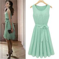 New Womens Lady Elegant Sleeveless Pleated Chiffon Vest Dress With Lining W3049