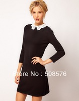 Fashion Sexy Slim Lady Woman lace collar dress Black Mini Dress S M L