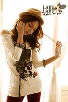 New 2014 Fashion Women Printed T shirt Sexy Tops Tee Off The Shoulder Skull Skeleton Shirt Blusa Cotton T-shirt Long Blouses 846